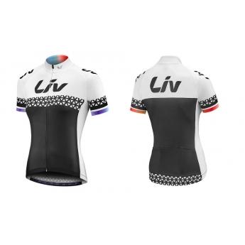 Maillot vélo femme manches courtes Beliv blanc noir LIV