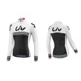Maillot vélo femme manches longues Beliv blanc noir LIV